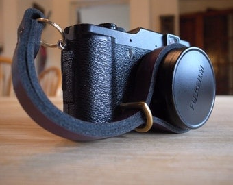 Quality Handmade leather camera wrist strap - PURPLE
