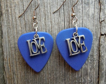 Silver Love Charm Guitar Pick Earrings - Pick Your Color