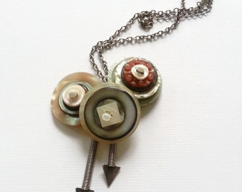 Antique MOP button assemblage necklace, vintage button stacks with arrows