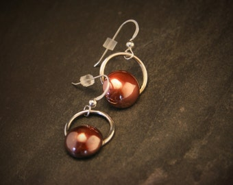 Copper Circle Earrings with Sterling Silver