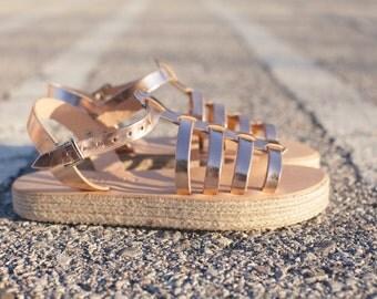 acrobat gladietor gold bronze /flatform with cord /aelia greek sandals/leather /handmade/Crisscross Straps/ Espadrille Sandals