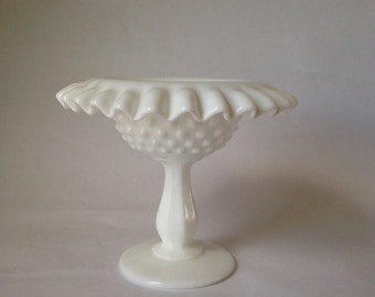 Ruffled Milk Glass with Dots
