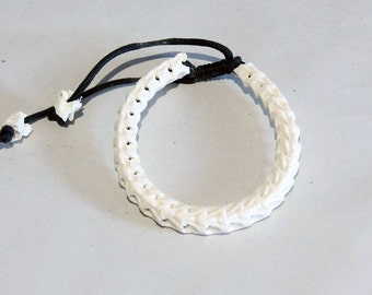 Genuine snake spine bone skeleton [bleached white] natural bracelet  S Size