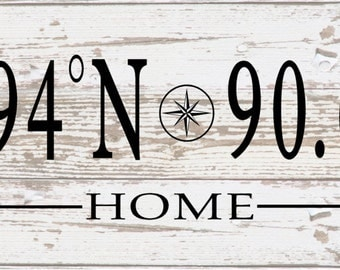 Custom Home Longitude Latitude with Compass Metal Sign - Nautical, Housewarming, Christmas, Wedding, Father's Day, Mother's Day