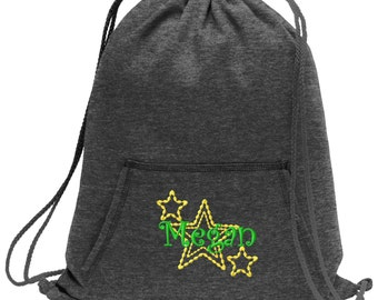 Sweatshirt material cinch bag with front pocket and embroidered spirit design - Stars - Multiple Colors - Camouflage - BG614