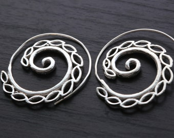 Brass Spiral Earrings, Silver and gold finish brass earrings, Brass hoops, Spiral Earrings, Ethnic earrings; Gypsy earrings