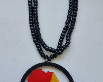 Rasta medallion etsy africa continent circle wooden pendant medallion beaded necklace rasta red yellow green aloadofball Image collections