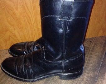 Black leather Justin cowboy boots   Size 11D