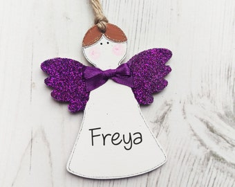 Personalised Christmas Decorations, Christmas Angel Keepsake, Handmade Decoration, Stocking Filler, tree decoration