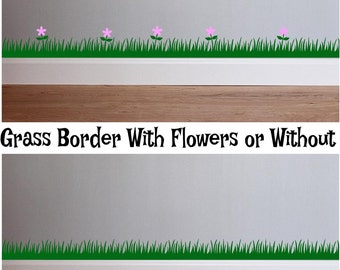 Grass Border Wall Decal Removeable for wall nursery Flowers Butterflies Dragonflies Animals chipmunk Squirrel