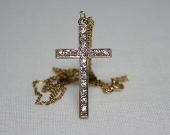 Vintage Rhinestone Cross Necklace - Gold Filled, J935