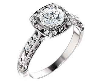 0.90 carat E/SI1 Round Brilliant Diamond Engagement Ring 14k White Gold