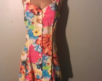 Tropical colorful mini hawaii floral dress size 8