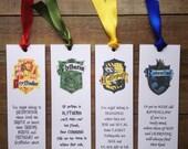 Harry Potter Hogwarts House Bookmark, Ravenclaw, Hufflepuff, Gryffindor, Slytherin