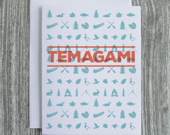 Temagami - Ontario Cottage Country - Letterpress Blank Greeting Card on 100% Cotton Paper