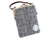 Herringbone metal frame, cell phone, card case with leather handle