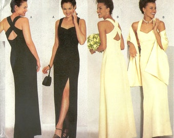 Prom BUTTERICK Sewing Pattern 6463 Sizes 12-16.  Evening, bridesmaid. Straight. A-line. Column. Crossed straps.  Wrap. Shawl. Uncut.