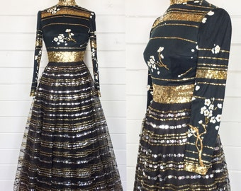 Vintage 1960s Black Sequined Ball Gown / Gold & Silver / Cherry Blossom / Made by Victoria Royal Ltd / Black Tie