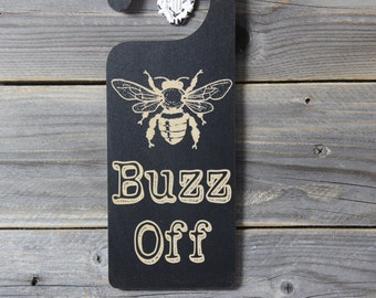 door knob hanger,buzz off, leave me alone, insect,chalkboard,door sign,sign,hanging,custom chalkboard,personlized chalkboard,room name