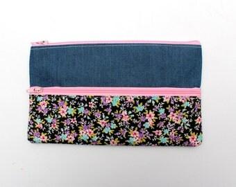 Sale! Denim & Floral Pencil case/ Makeup Bag 19.5cm x 11.5cm With Two Pockets and Pink Zippers