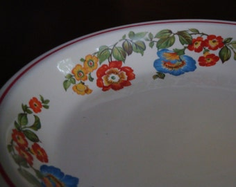 Blue, Orange, Red and Yellow Floral  Pie Baking Plate!