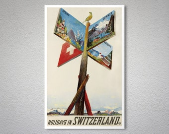 Holidays in Switzerland  Travel Poster - Poster Print, Sticker or Canvas Print