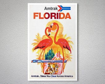 Amtrak Florida  Travel Poster - Poster Paper, Sticker or Canvas Print