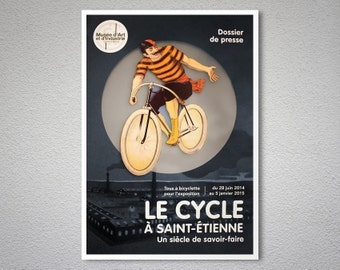 Le  Cycle a Saint-Etienne Vintage Cycle Poster - Poster Print, Sticker or Canvas Print