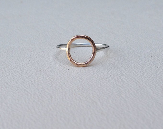 Rose gold fill circle Sterling silver ring