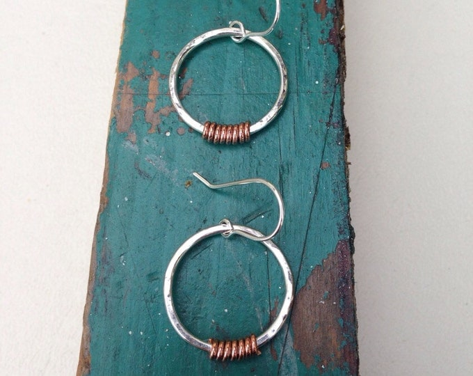 Handmade hoop earrings silver circle earrings with copper twists