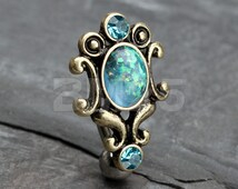 Aqua Vintage Victorian Opal Hinged Reverse Belly Button Ring