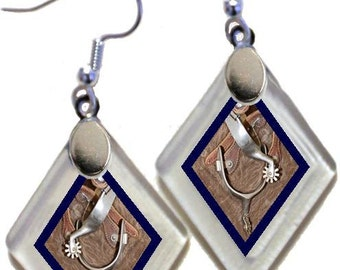 "Earrings ""Western Spurs"" from rescued, repurposed window glass~Lightening landfills one tiny glass diamond at a time!"