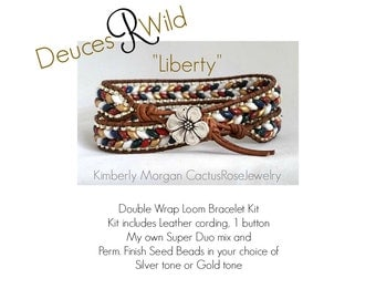 """Deuces R Wild Double Wrap Bracelet Kit """"Liberty"""" Red, White, Blue and Gold"""