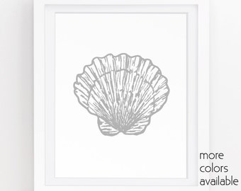 Seashell Wall Decor, Grey Wall Art, Coastal Prints, Clam Shell, Modern Decor