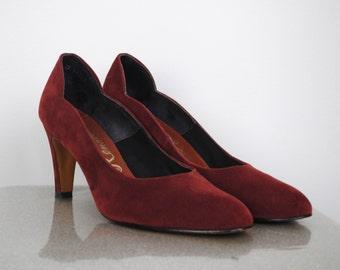 Vintage 70's Suede Heels - Size 9 - Renato Red Wine Pumps