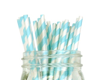 Striped Party Paper Straws 25pcs Baby Blue SPS250084 Just Artifacts Brand