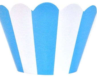 Cupcake Wrapper 20pcs Baby Blue Striped Just Artifacts Brand CCW200022