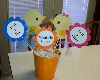 Baby shower duck  centerpiece sticks Waddle it be