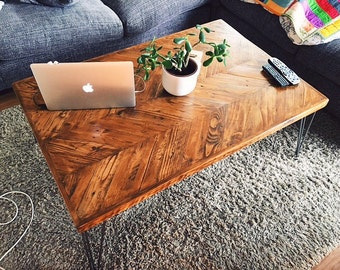 Reclaimed Wood Chevron Coffee Table - Rustic Coffee Table - Coffee Table - Industrial Coffee Table - Mid Century Coffee Table - Table