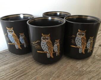 Vintage Owl ceramic saki cups set of 4