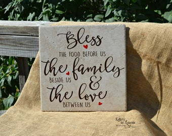 Bless this food before us, Dinner Blessing, Prayer Sign, Gift of Faith, Inspirational Gift, Friendship Gift, Faith Sign