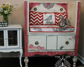 Salvia Vintage Upcycled Dresser Bench with Storage