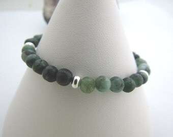 Sterling silver emerald bracelet-May birthstone jewellery- emerald 925 silver bracelet-