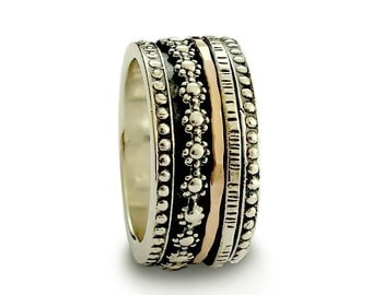 Silver and gold spinner band, floral spinner ring, dotted meditation ring, men woman wedding band, oxidized silver infinity ring, worry ring