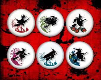 Halloween Witches -  3D Button Magnets, Kitchen Fridge Magnets - MA0831