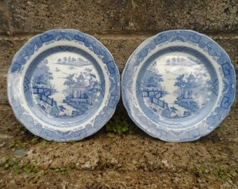 Antique pair of Georgian pearlware Chinese pattern ceramic plates - transfer printed plates blue and white circa 1830's
