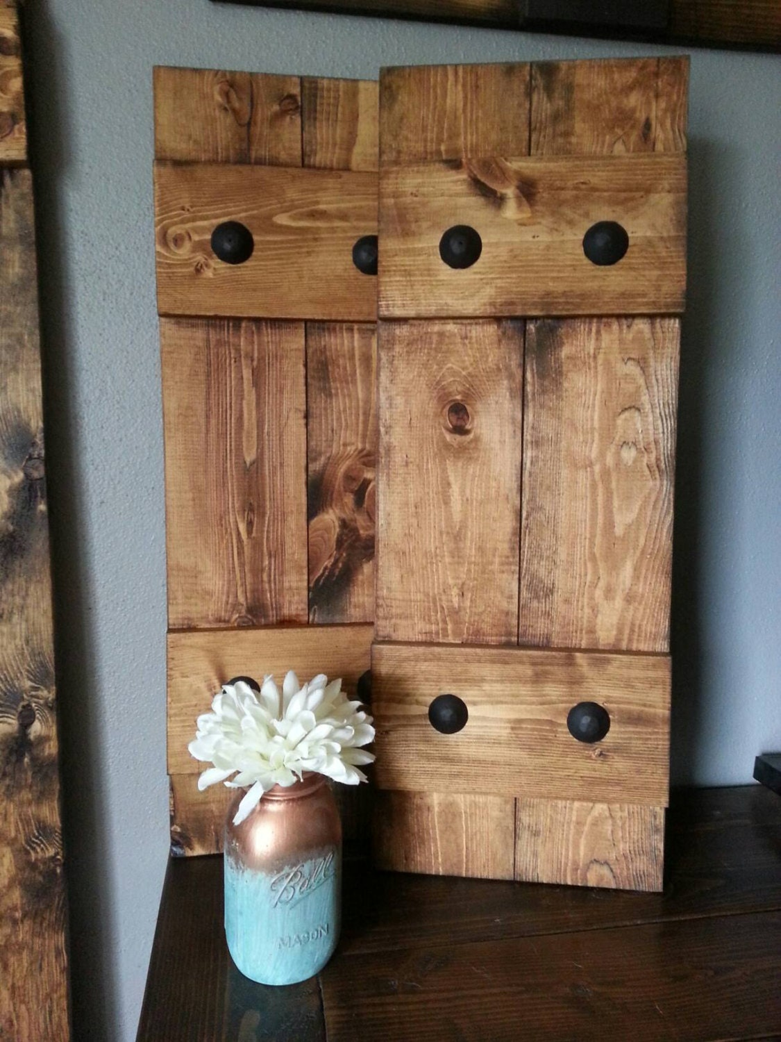Decorative Wooden Blinds : Rustic wood shutters with clavos decorative