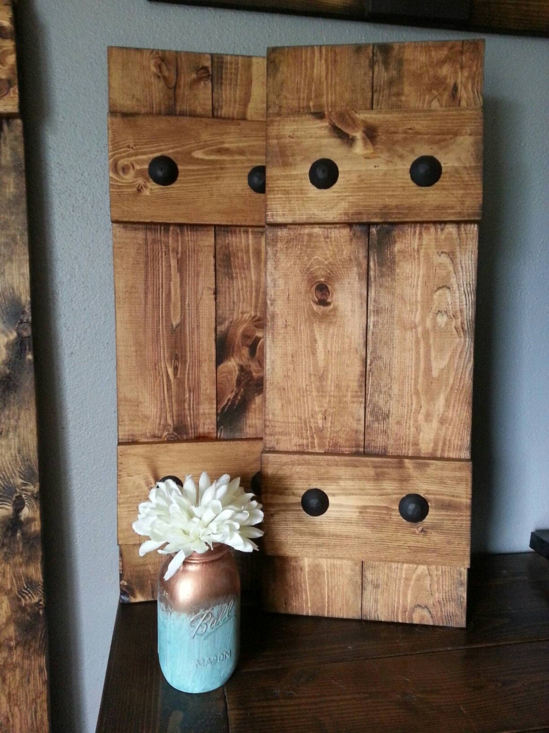 Rustic wood shutters with clavos decorative shutters - Decorative window shutters exterior ...