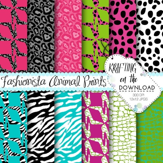High Heel Fashion Digital Paper Pack shoes pattern and animal prints, zebra, leopard, cheetah, dalmatian, gator, instant download