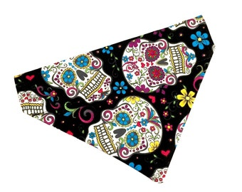 Small sugar skull slip on pet bandana | ready to ship